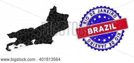 Rio De Janeiro State Map Polygonal Mesh With Filled Triangles, And Distress Bicolor Stamp Seal. Tria