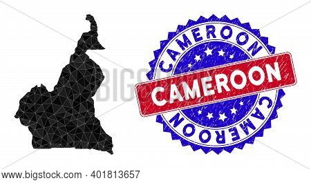 African Cameroon Map Polygonal Mesh With Filled Triangles, And Textured Bicolor Stamp Imitation. Tri