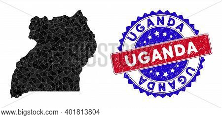 Uganda Map Polygonal Mesh With Filled Triangles, And Distress Bicolor Watermark. Triangle Mosaic Uga