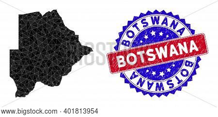 Botswana Map Polygonal Mesh With Filled Triangles, And Grunge Bicolor Stamp Print. Triangle Mosaic B