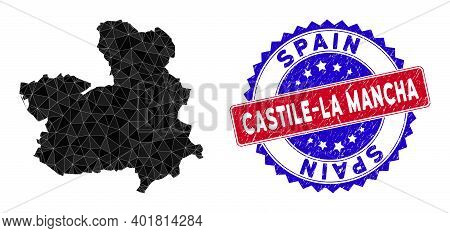 Castile-la Mancha Province Map Polygonal Mesh With Filled Triangles, And Rubber Bicolor Rubber Seal.