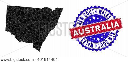 New South Wales Map Polygonal Mesh With Filled Triangles, And Grunge Bicolor Watermark. Triangle Mos