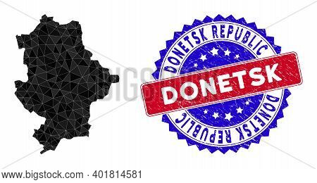 Donetsk Republic Map Polygonal Mesh With Filled Triangles, And Textured Bicolor Stamp Imitation. Tri