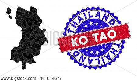 Ko Tao Map Polygonal Mesh With Filled Triangles, And Rough Bicolor Stamp. Triangle Mosaic Ko Tao Map