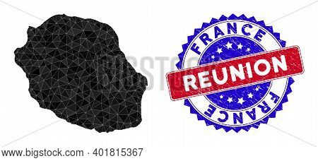 Reunion Island Map Polygonal Mesh With Filled Triangles, And Unclean Bicolor Stamp Seal. Triangle Mo