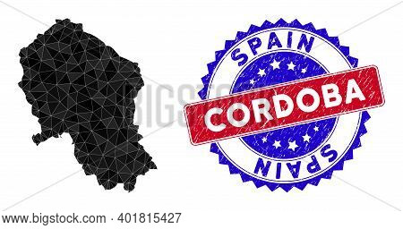 Cordoba Spanish Province Map Polygonal Mesh With Filled Triangles, And Grunge Bicolor Rubber Seal. T