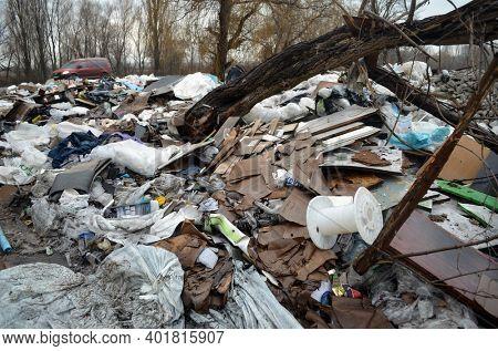 Winter landscape.Ecology of Ukraine. Nature near Ukrainian capital. Environmental contamination. Illegal junk dump. December 18, 2020 Kiev,Ukraine