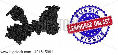 Leningrad Oblast Map Polygonal Mesh With Filled Triangles, And Grunge Bicolor Seal. Triangle Mosaic