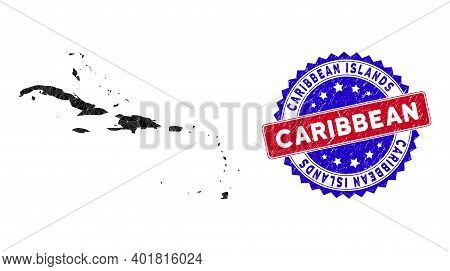 Caribbean Islands Map Polygonal Mesh With Filled Triangles, And Distress Bicolor Stamp Seal. Triangl