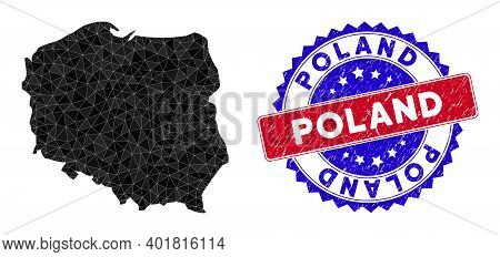 Poland Map Polygonal Mesh With Filled Triangles, And Distress Bicolor Watermark. Triangle Mosaic Pol