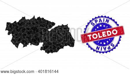 Toledo Province Map Polygonal Mesh With Filled Triangles, And Scratched Bicolor Seal. Triangle Mosai