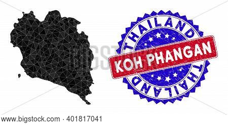 Koh Phangan Thai Island Map Polygonal Mesh With Filled Triangles, And Textured Bicolor Seal. Triangl