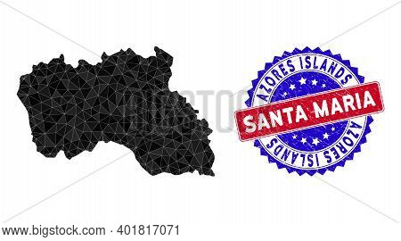 Santa Maria Island Map Polygonal Mesh With Filled Triangles, And Scratched Bicolor Rubber Seal. Tria