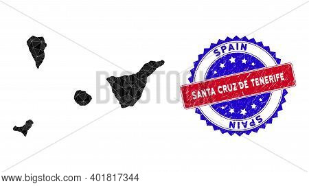 Santa Cruz De Tenerife Province Map Polygonal Mesh With Filled Triangles, And Scratched Bicolor Stam