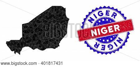 Niger Map Polygonal Mesh With Filled Triangles, And Rubber Bicolor Stamp. Triangle Mosaic Niger Map