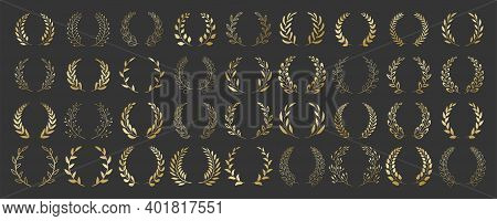 Set Of Gold Circular Foliate Laurels Branches. Vintage Laurel Wreaths Collection. Hand Drawn Vector