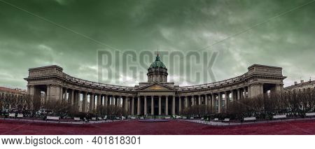 Very Large Panorama Of The Kazan Cathedral, Russia, St. Petersburg Thick And Dark Clouds Over The Ma