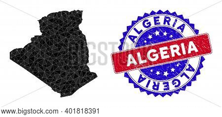 Algeria Map Polygonal Mesh With Filled Triangles, And Scratched Bicolor Stamp Print. Triangle Mosaic