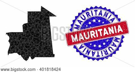 Mauritania Map Polygonal Mesh With Filled Triangles, And Scratched Bicolor Rubber Seal. Triangle Mos