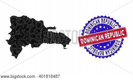Dominican Republic Map Polygonal Mesh With Filled Triangles, And Rough Bicolor Stamp Imitation. Tria