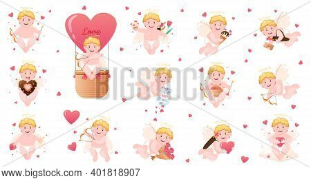 Valentine's Day Elements Cupids Isolated On White Background. Cartoon Angels In Different Poses With