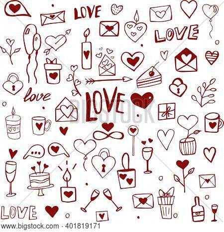 Set Hand-drawn On Valentine's Day Holiday Of All Lovers. Hand Drawn Doodle Love And Feelings Collect