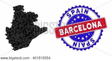Barcelona Province Map Polygonal Mesh With Filled Triangles, And Scratched Bicolor Stamp Seal. Trian