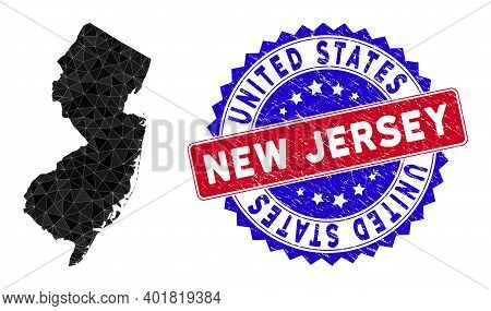 New Jersey State Map Polygonal Mesh With Filled Triangles, And Grunge Bicolor Stamp Seal. Triangle M
