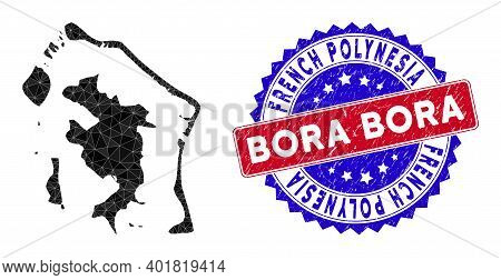 Bora-bora Map Polygonal Mesh With Filled Triangles, And Rubber Bicolor Rubber Seal. Triangle Mosaic