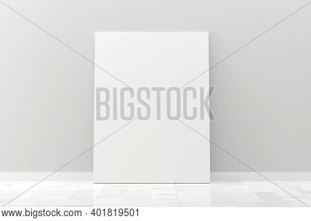 Empty Picture Frame Canvas Mock-up Leaning Against White Wall In Room With White Wooden Floor With C