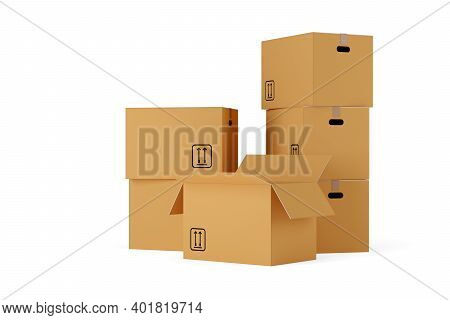 Stacks Of Open And Closed Brown Cardboard Moving Storage Boxes Over White Background, Moving Day Con