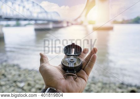 Compass, Navigational Compass, Travel Compass, Lost Compass, The Background Is A Bridge For Challeng