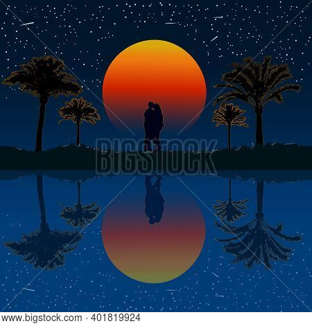 Lovers Under Palm Trees. Silhouette Of Kissing Couple On The Beach Under The Palm Tree On Sunset Bac