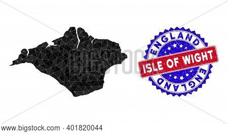 Isle Of Wight Map Polygonal Mesh With Filled Triangles, And Unclean Bicolor Seal. Triangle Mosaic Is