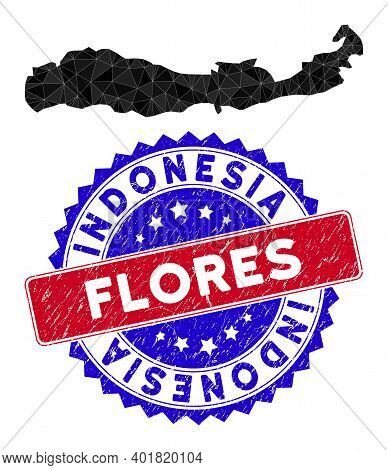 Flores Island Of Indonesia Map Polygonal Mesh With Filled Triangles, And Unclean Bicolor Stamp Seal.