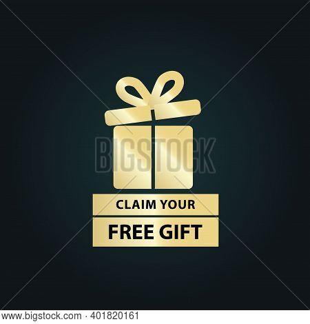 Claim Your Free Gift Claim Your Free Gift Icon, Premium Golden Vector Icon, Package Label Design Ele