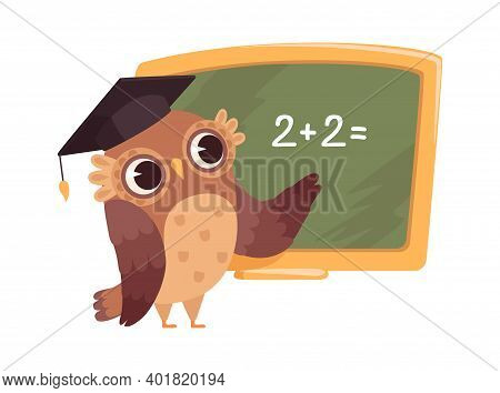 Teacher At Blackboard. Isolated Cartoon Clever Owl In University Cap Teaches Counting. School Or Col