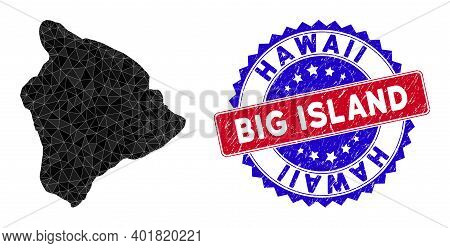 Hawaii Big Island Map Polygonal Mesh With Filled Triangles, And Rubber Bicolor Rubber Seal. Triangle
