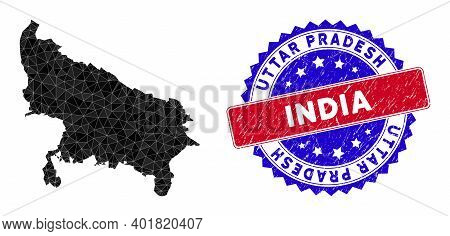 Uttar Pradesh State Map Polygonal Mesh With Filled Triangles, And Grunge Bicolor Stamp. Triangle Mos