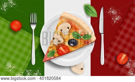 Italian Cuisine Banner. Pizza On Plate, Realistic Basil Tomatoes Cutlery. Italy Kitchen Tasty Food,