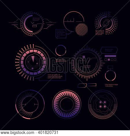 Hud Radar Interface. Digital Modern Military Weapons Ui Templates Circle Futuristic Forms Graphical