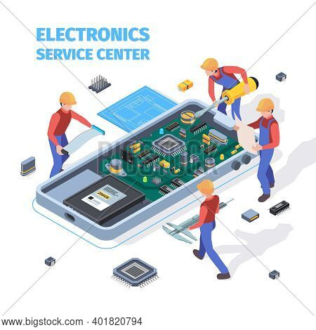 Repair Service Concept. People Making Repair At Motherboard Of Smartphones Or Laptop Workers Fixed A