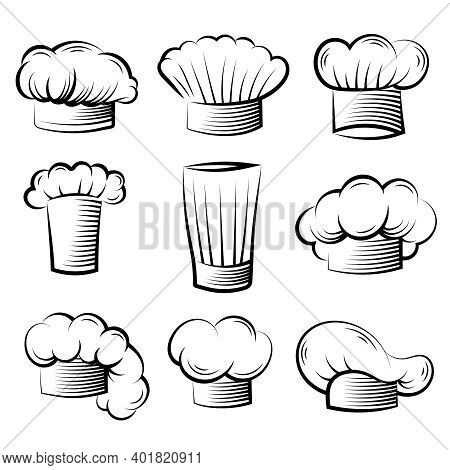 Chef Hat. Cook Professional Clothes For Preparing Food On Kitchen Vector Collection Set. Illustratio