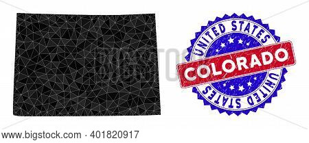 Colorado State Map Polygonal Mesh With Filled Triangles, And Distress Bicolor Rubber Seal. Triangle