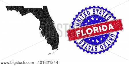 Florida Map Polygonal Mesh With Filled Triangles, And Rubber Bicolor Rubber Seal. Triangle Mosaic Fl