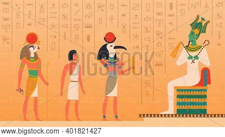 Egypt Mural. Cultural Ancient Characters Painting On Wall Historical Egyptian Background With Gods O
