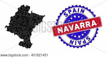 Navarra Province Map Polygonal Mesh With Filled Triangles, And Rubber Bicolor Rubber Seal. Triangle