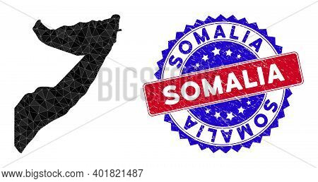 Somalia Map Polygonal Mesh With Filled Triangles, And Distress Bicolor Stamp Seal. Triangle Mosaic S