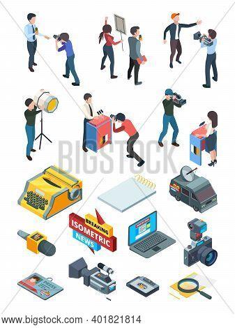 Journalist Isometric. Broadcasting Media Studio Newspaper Correspondent Equipment Interviewer Journa