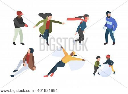 Winter People. Isometric Characters In Winter Clothes Walking Enjoying Xmas Romantic Season Garish V